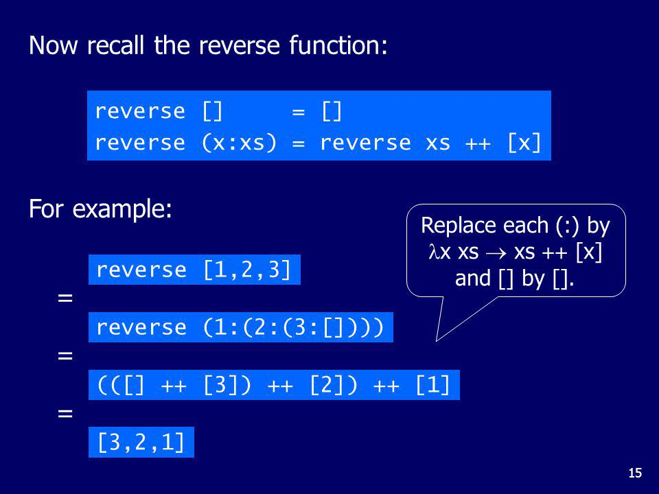 Replace each (:) by (:) and [] by ys.